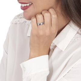 Bague Lina-maria Or Blanc Saphir Et Diamant - Bagues avec pierre Femme   Histoire d'Or