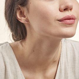 Boucles D'oreilles Puces Petale Or Bicolore Rubis Et Diamant - Clous d'oreilles Femme | Histoire d'Or