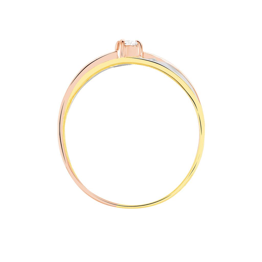 Bague Solitaire Gisla Or Tricolore Diamant - Bagues solitaires Femme | Histoire d'Or