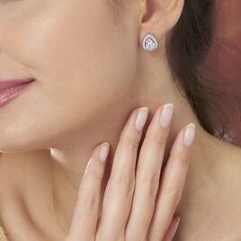 Boucles D'oreilles Puces Pilar Argent Blanc Oxyde De Zirconium - Boucles d'oreilles fantaisie Femme | Histoire d'Or