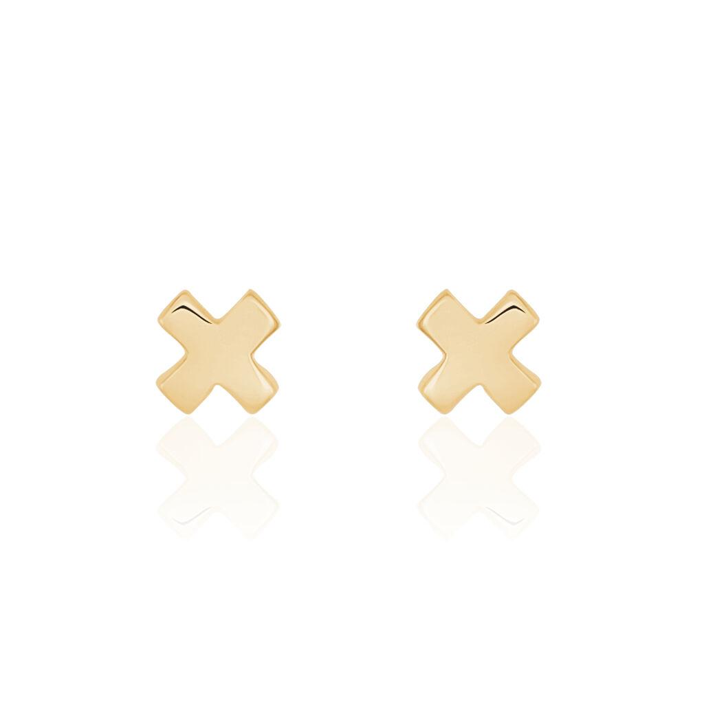 Boucles D'oreilles Puces Thiefaineae Plaque Or Jaune - Boucles d'Oreilles Croix Femme   Histoire d'Or