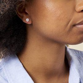 Boucles D'oreilles Puces Rosalie Or Blanc Oxyde De Zirconium - Clous d'oreilles Femme | Histoire d'Or