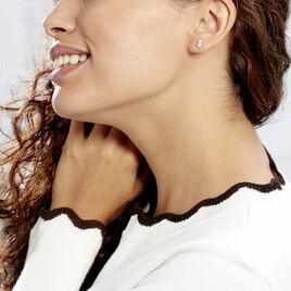 Boucles D'oreilles Puces Edma Or Blanc Oxyde De Zirconium - Clous d'oreilles Femme   Histoire d'Or