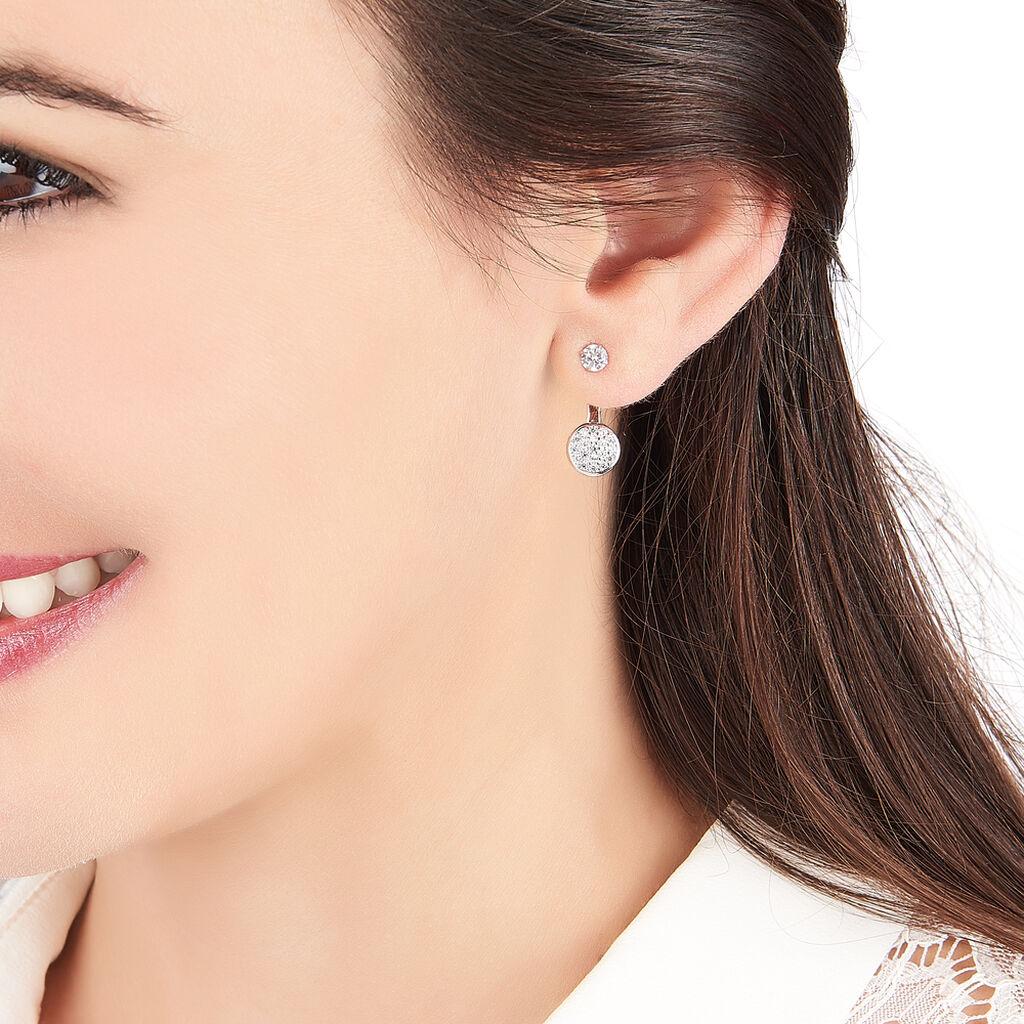 Bijoux D'oreilles Lorie Argent Blanc Oxyde De Zirconium - Boucles d'oreilles fantaisie Femme | Histoire d'Or