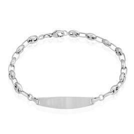 Bracelet Identité Evin Maille Grain De Cafe Or Blanc - Bracelets Communion Enfant | Histoire d'Or