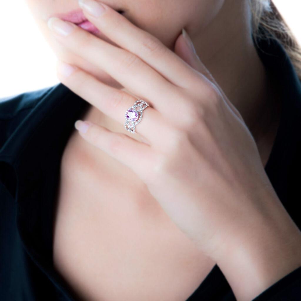 Bague Tina Or Blanc Amethyste Et Diamant - Bagues avec pierre Femme | Histoire d'Or