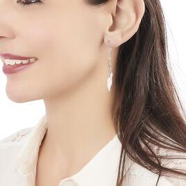 Boucles D'oreilles Pendantes Alli Argent Blanc - Boucles d'Oreilles Plume Femme   Histoire d'Or