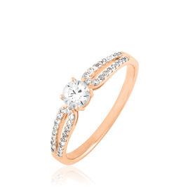 Bague Solitaire Katalina Or Rose Diamant - Bagues avec pierre Femme   Histoire d'Or