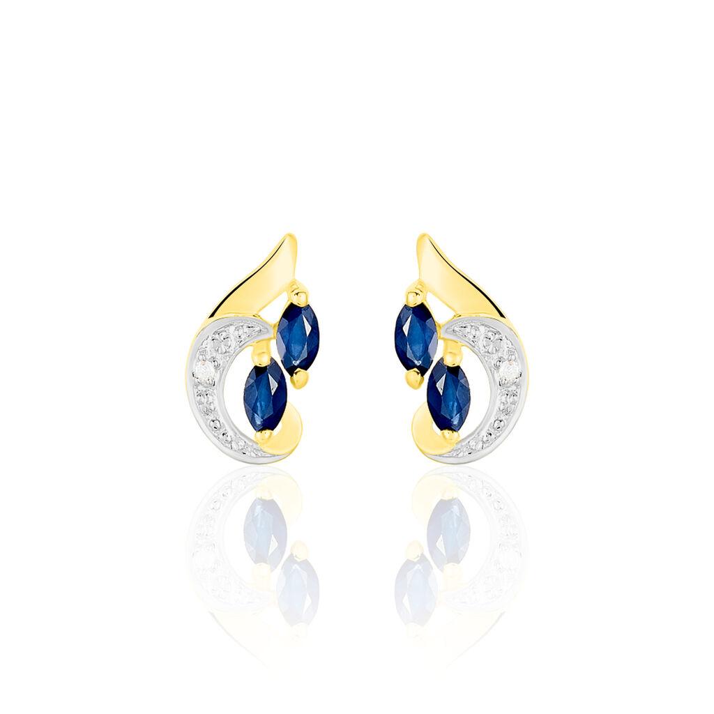 Boucles D'oreilles Puces Sakina Or Jaune Saphir Et Diamant Et Divers - Clous d'oreilles Femme   Histoire d'Or