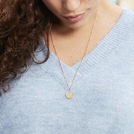 Collier Plaque Or Keva Ronde Martele Symbolique - Sautoirs Femme | Histoire d'Or