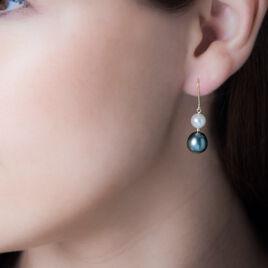 Boucles D'oreilles Puces Or Jaune Perle De Tahiti Et Perle De Culture - Boucles d'oreilles pendantes Femme | Histoire d'Or