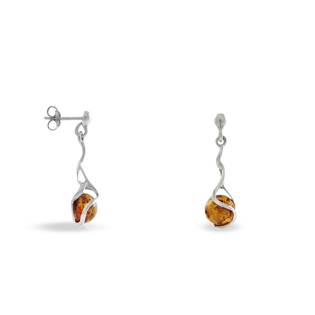 Boucles D'oreilles Pendantes Ferima Argent Blanc Ambre - Boucles d'oreilles fantaisie Femme   Histoire d'Or