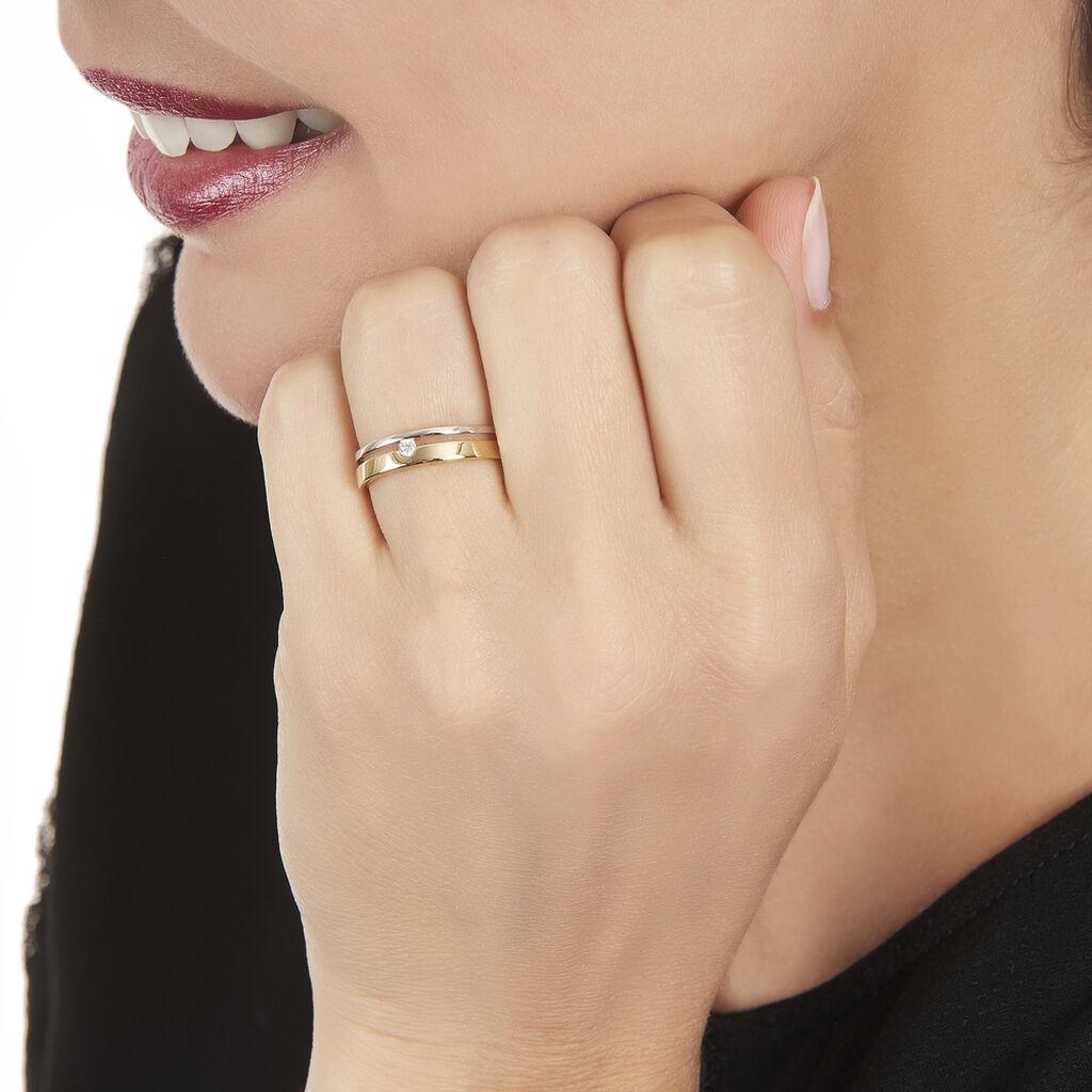 Bague Lola Or Bicolore Diamant - Bagues solitaires Femme   Histoire d'Or