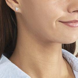Boucles D'oreilles Puces Brendana Argent Blanc Oxyde De Zirconium - Boucles d'oreilles fantaisie Femme | Histoire d'Or