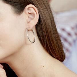 Créoles Cayla Diamantees Fil Rond Or Blanc - Boucles d'oreilles créoles Femme   Histoire d'Or