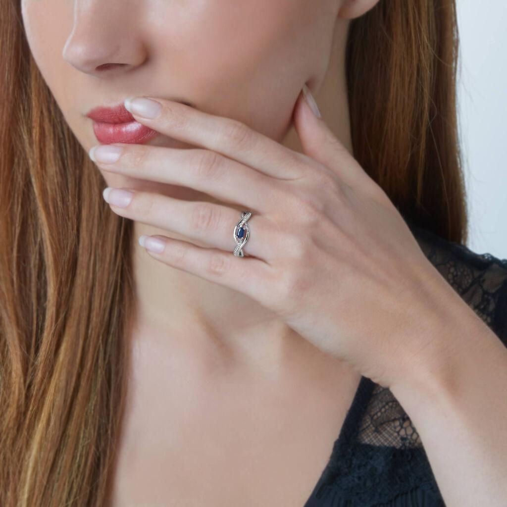 Bague Corella Or Blanc Saphir Et Diamant - Bagues avec pierre Femme   Histoire d'Or