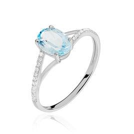 Bague Melyahae Or Blanc Topaze Et Diamant - Bagues avec pierre Femme | Histoire d'Or