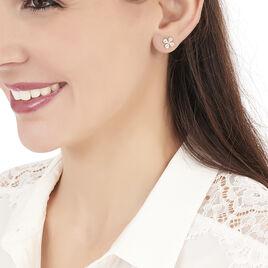 Boucles D'oreilles Puces Norah Or Jaune Perle De Culture Et Oxyde - Clous d'oreilles Femme | Histoire d'Or