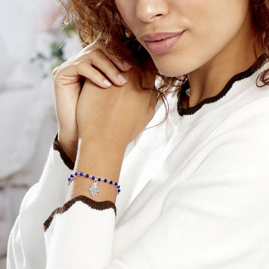 Bracelet Bedra Argent Blanc Cristal - Bracelets Main de Fatma Femme   Histoire d'Or