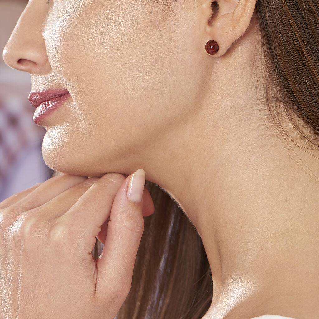 Boucles D'oreilles Puces Brunhild Argent Blanc Ambre - Boucles d'oreilles fantaisie Femme   Histoire d'Or