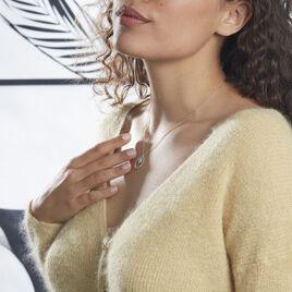 Collier Edwiga Argent Blanc Oxyde De Zirconium - Colliers fantaisie Femme   Histoire d'Or