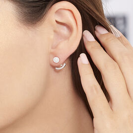 Bijoux D'oreilles Argent Rhodie Phybie Pendante Boutton - Boucles d'oreilles fantaisie Femme | Histoire d'Or