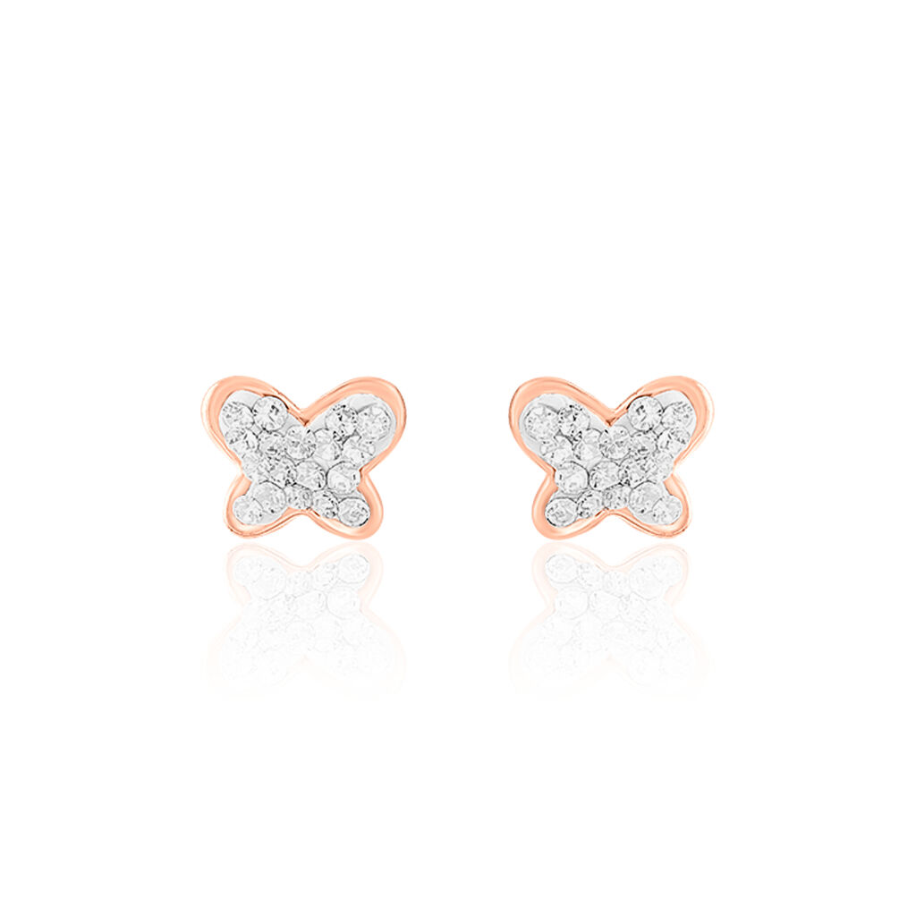 Boucles D'oreilles Puces Evaelle Papillon 0 Or Rose Strass - Boucles d'Oreilles Papillon Femme | Histoire d'Or