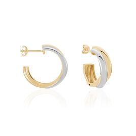Creoles Plaque Or Bicolore Athenea - Boucles d'oreilles créoles Femme | Histoire d'Or