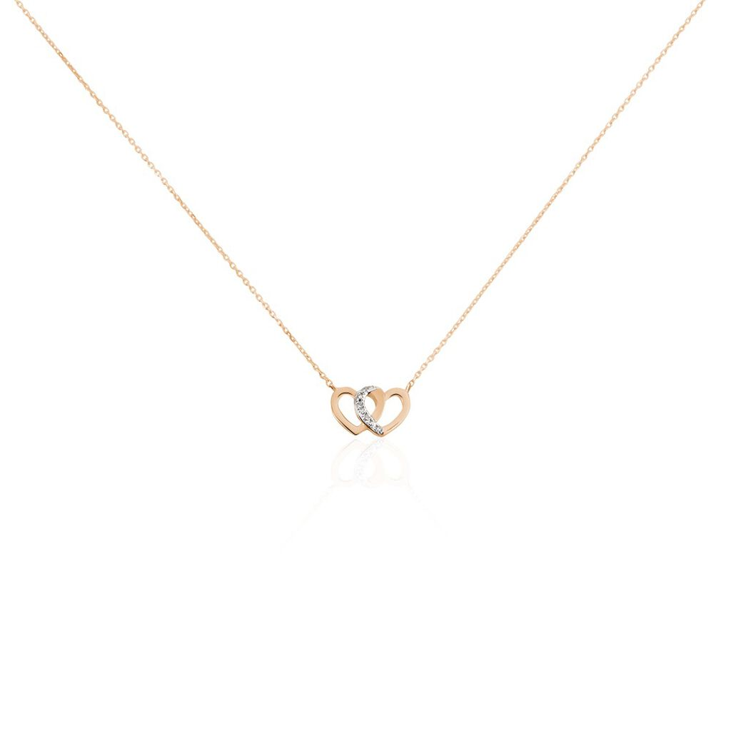 Collier Or Rose Valiere Diamants - Colliers Coeur Femme   Histoire d'Or