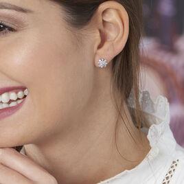 Boucles D'oreilles Puces Lorraine Argent Blanc Oxyde De Zirconium - Boucles d'oreilles fantaisie Femme | Histoire d'Or