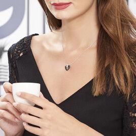 Collier Nolwen Argent Blanc Céramique Et Oxyde De Zirconium - Colliers Coeur Femme   Histoire d'Or