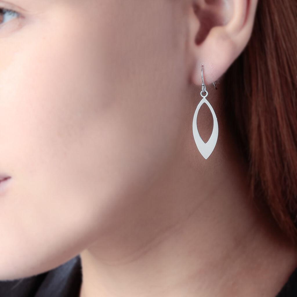 Boucles D'oreilles Pendantes Andrienne Argent Blanc - Boucles d'Oreilles Plume Femme | Histoire d'Or