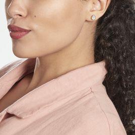 Boucles D'oreilles Puces Laouenan Argent Rhodié Oxyde De Zirconium - Boucles d'oreilles fantaisie Femme | Histoire d'Or
