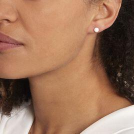 Boucles D'oreilles Puces Solene Argent Blanc Céramique - Boucles d'oreilles fantaisie Femme | Histoire d'Or