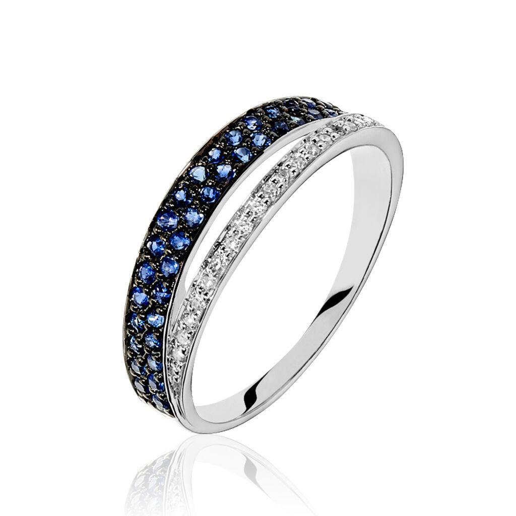 Bague Agapanthe Or Blanc Saphir Et Diamant - Bagues avec pierre Femme   Histoire d'Or