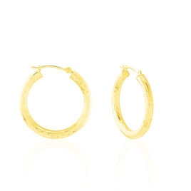 Créoles Cleanne Diamantees Fil Rond Or Jaune - Boucles d'oreilles créoles Femme | Histoire d'Or