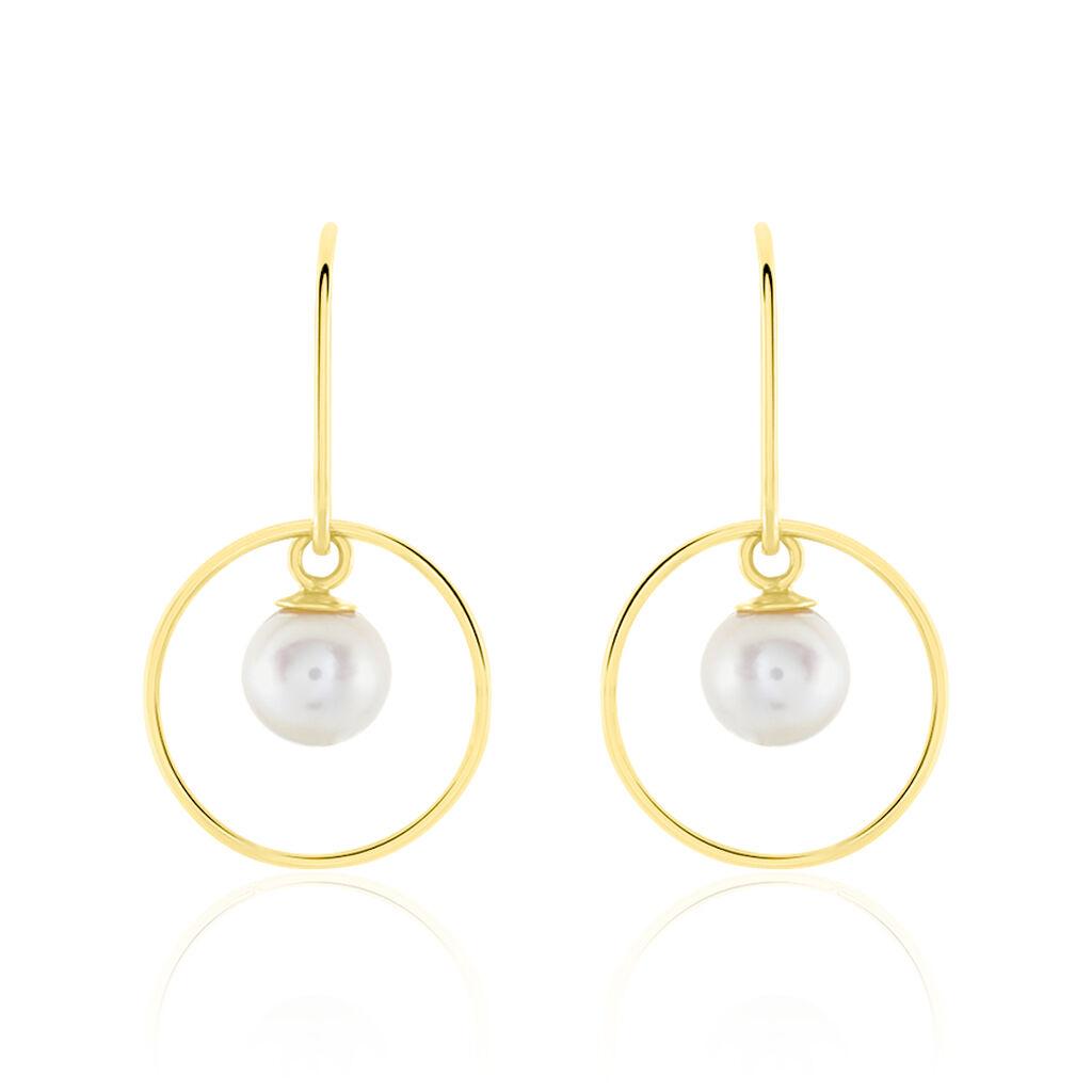 Boucles D'oreilles Pendantes Salvine Or Jaune Perle De Culture - Boucles d'oreilles pendantes Femme | Histoire d'Or