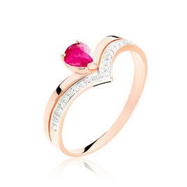 Bague Or Rose Saphir Et Diamant - Bagues solitaires Femme   Histoire d'Or