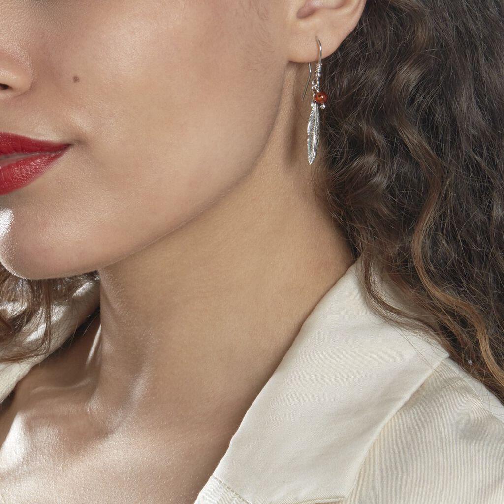 Boucles D'oreilles Pendantes Adriane Argent Blanc Ambre - Boucles d'Oreilles Plume Femme   Histoire d'Or