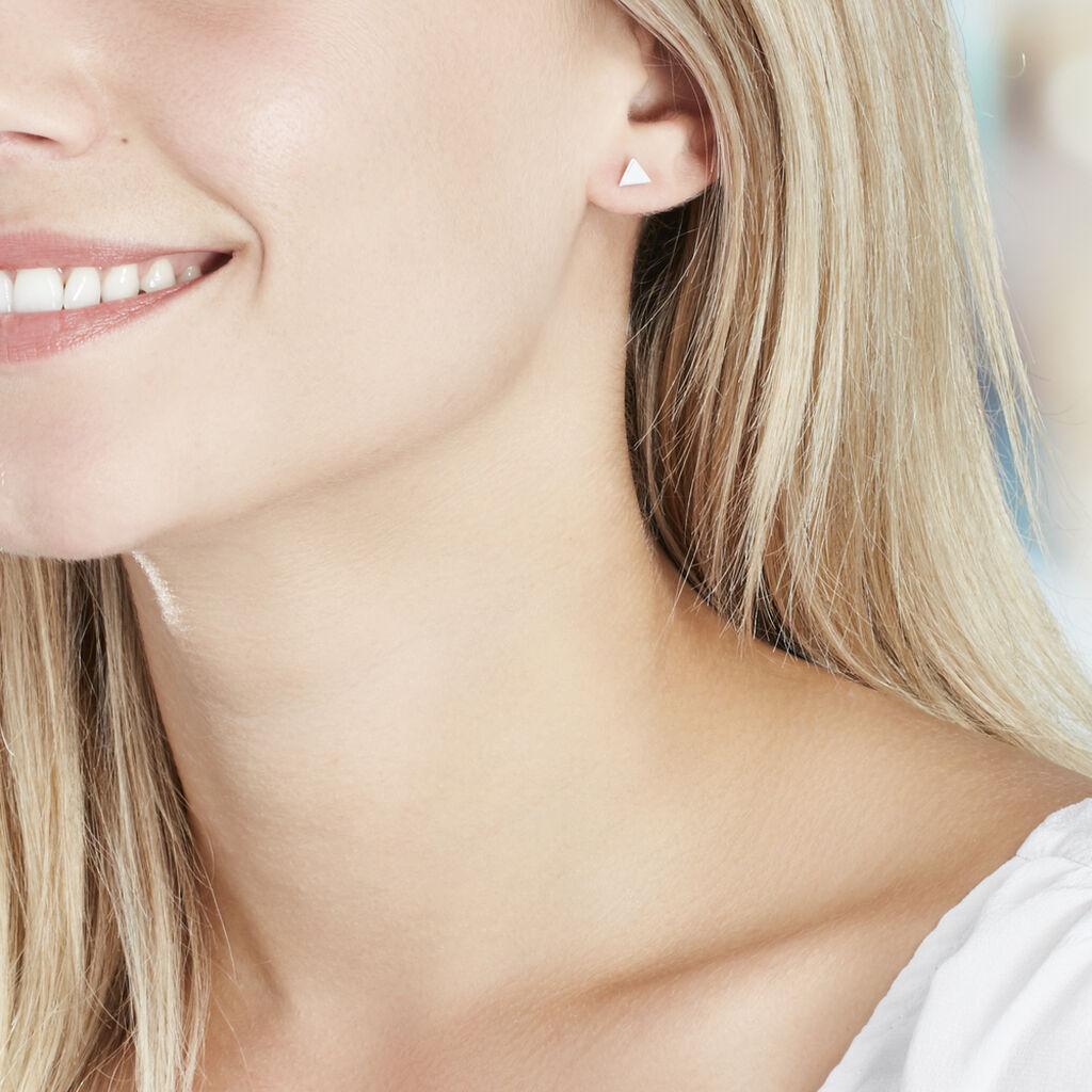 Boucles D'oreilles Puces Trilia Argent Blanc - Boucles d'oreilles fantaisie Femme   Histoire d'Or