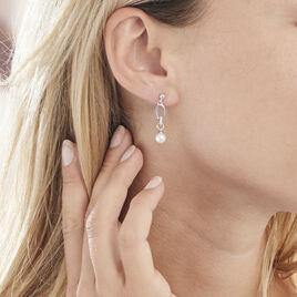 Boucles D'oreilles Pendantes Milly Argent Perle D'imitation Et Oxyde - Boucles d'oreilles fantaisie Femme | Histoire d'Or