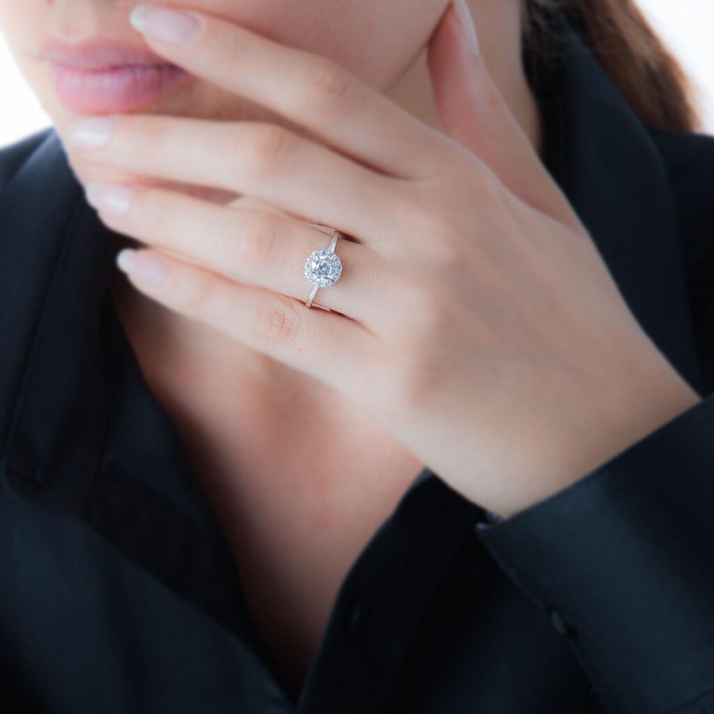 Bague Eternite Argent Blanc Oxyde De Zirconium - Bagues solitaires Femme   Histoire d'Or