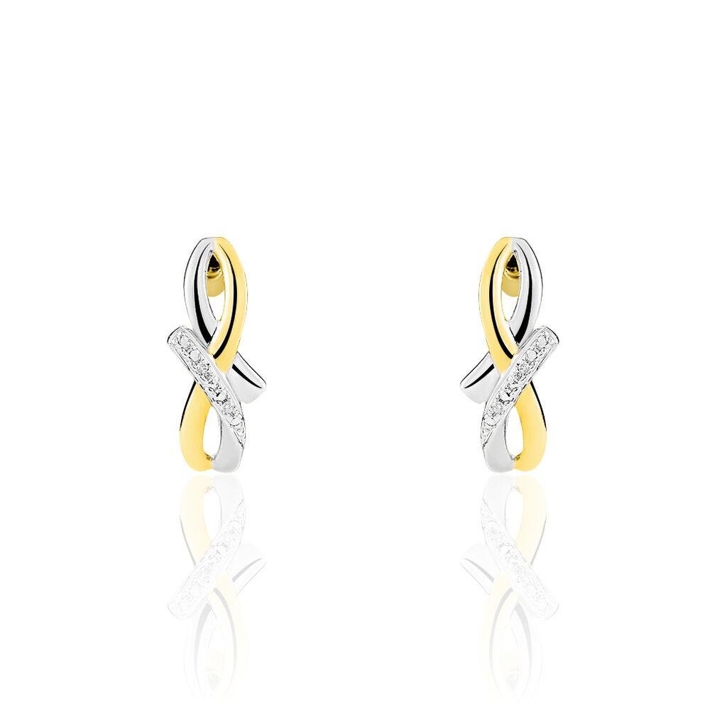 Boucles D'oreilles Puces Soukayna Or Bicolore Diamant - Clous d'oreilles Femme   Histoire d'Or