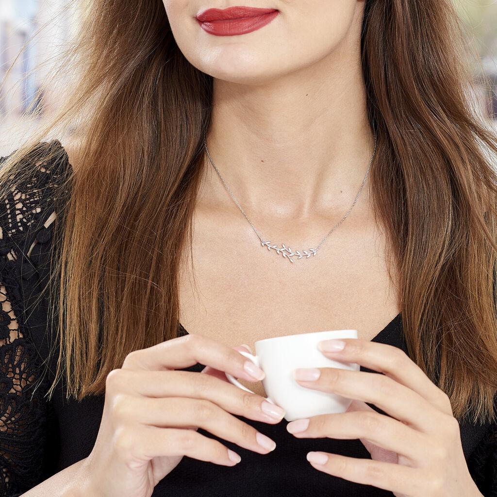Collier Folia Argent Blanc - Colliers Plume Femme   Histoire d'Or
