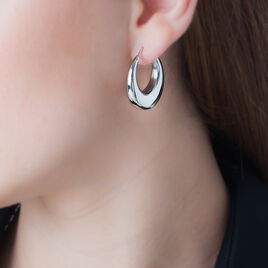 Créoles Creolia Acier Blanc - Boucles d'oreilles créoles Femme | Histoire d'Or