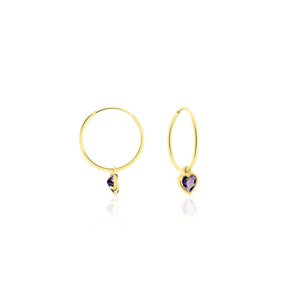 Créoles Marsie Coeur Or Jaune Amethyste - Boucles d'Oreilles Coeur Femme | Histoire d'Or