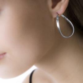 Créoles Silla Vrillees Fil Ovale Or Blanc - Boucles d'oreilles créoles Femme | Histoire d'Or