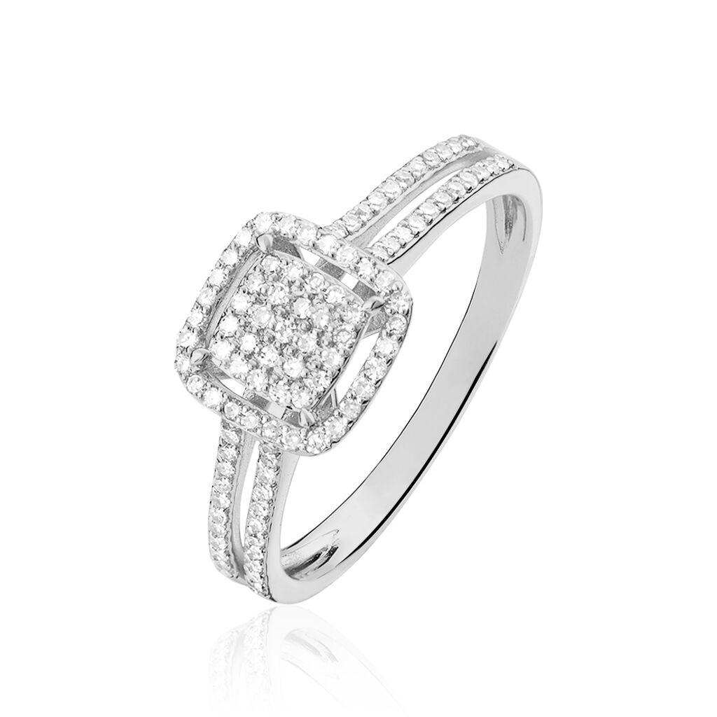 Bague Zenaba Or Blanc Diamant - Bagues avec pierre Femme   Histoire d'Or