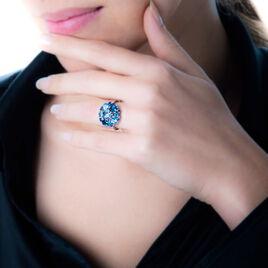 Bague Or Blanc Topaze Et Diamant Et Saphir - Bagues avec pierre Femme   Histoire d'Or