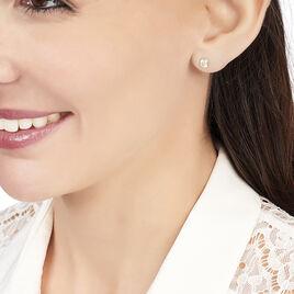 Boucles D'oreilles Puces Elda Serti Clos Or Jaune Oxyde De Zirconium - Clous d'oreilles Femme   Histoire d'Or
